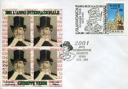 32352 Romania, Special Postmark And Cover 2001, Giuseppe Verdi Music Opera Composer - Musica