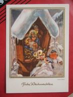Hans Lang - Heilige Nacht (Frohe Weihnachten), Bildstock, Krippe - Autres Illustrateurs