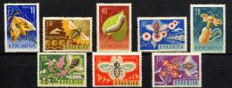 ROUMANIE ROMANA 1963, ABEILLES, VERS A  SOIE, 8 Valeurs, Neufs / Mint. R329 - Abeilles