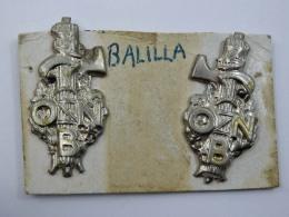 2  Spille Distintivo ONB BALILLA Fascio Fascismo Old Pin Fascista - Militaria