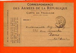 Correspondance Des Armées De La République - Carte En Franchise (pli) - Cartes De Franchise Militaire