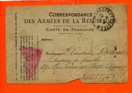 Correspondance Des Armées De La République - Carte En Franchise - (état) - Cartes De Franchise Militaire