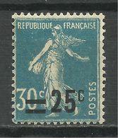 FRANCE , SEMEUSE Surchargé 25 C / 30 C , 1926 - 27 , N° Y&T 217  , Variété Décalage De La Surcharge Vers La Droite - Varieties: 1921-30 Mint/hinged