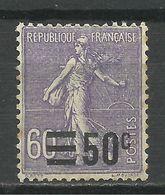 FRANCE , SEMEUSE Surchargé 50 C / 60 C , 1926 - 27 , N° Y&T 223  , Variété Décalage De La Surcharge Vers La Droite - Varieties: 1921-30 Mint/hinged