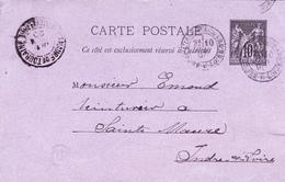 ENTIER POSTAL SAGE FRANCE De 1890 - Pour Teinturier De Sainte Maure De Touraine (37) Les Chillandières Larçay - Entiers Postaux