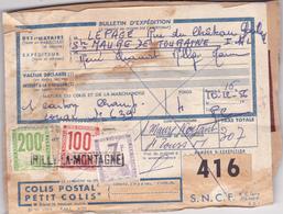 COLIS POSTAL N° 416 Pour 307 Francs (7 F + 100 F + 200 Francs) Cachet Rilly La Montagne (51) Lepage De Sainte Maure (37) - Colis Postaux