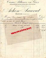 43- BLESLE- FACTURE ACHON SAUVAT- TISSUS BLANCS- CALICOTS LINGE A BEURRE-LINGERIE-CORSET-1913 - Textile & Vestimentaire