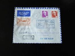 1 ERE LIAISON FRANCAISE PARIS NEW YORK  24 JUIN 1946 AVEC RETOUR A L'ENVOYEUR - Luftpost