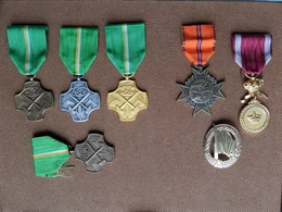 ACV - ARBEID En VOORUITGANG - C.C.V. / C.U.T. / C.G.V. / C.C.T. - NVA Speld ( Medaille - Ereteken ) 7 Stuks ! - Belgium