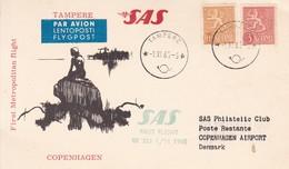 FINLANDIA. FIRST METROPOLITAN FLIGHT. SAS TAMPERE COPENHAGEN. CARD-TBE-BLEUP - Airmail