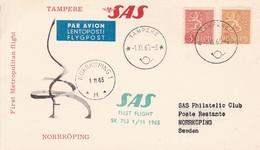 FINLANDIA. FIRST METROPOLITAN FLIGHT. SAS TAMPERE NORRKOPING. CARD-TBE-BLEUP - Airmail