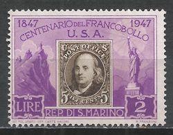 San Marino 1947. Scott #266 (M) United States 1847 Stamp * - Saint-Marin