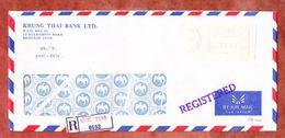 Luftpost, Einschreiben Reco, Krung Thai Bank, Meter Bangkok 1985 (48852) - Thailand