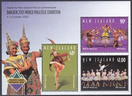 Neuseeland New Zealand 2003 Philatelie Philately Exhibition BANGKOK Kunst Arts Kultur Tanz Dancing Ballett, Bl. 156 ** - Ungebraucht