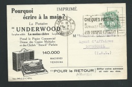 """Cpa Pub De 1925, Machine à écrire """"Underwood"""" Obl. Nantes RP  DREYFUSS NAN525 Lire Détail - Af26901 - Marcophilie (Lettres)"""