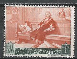 San Marino 1952. Scott #308 (M) Christopher Columbus * - Saint-Marin