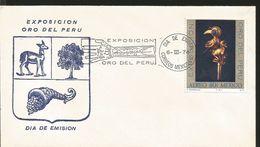 J) 1974 MEXICO, EXHIBITION GOLD OF PERU, BIRD, HAND, SET OF 2 FDC - Mexico