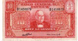 Paraguay P.187c 10 Guarani 1952 Xf - Paraguay