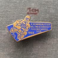 Badge (Pin) ZN006721 - Luge (Rennrodeln) Germany Friedrichroda World Championships 1966 - Winter Sports