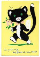 Chat - Un Petit Mot Des Fleurs Et Mon Coeur - Carte Avec Feutrine - Chats