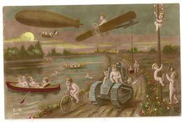 158 -Bébés Multiples - Zeppelin - Avion - Char - Umoristiche