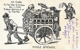 Illustration Ph. Norwins, Satire Politique: Mimile Déménage - Déménagement D'Emile Loubet De L'Elysée - Satiriques