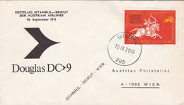 TURKIYE. ERSTFLUG ISTANBUL BEIRUT DER AUSTRIAN AIRLINES DOUGLAS DC9.-TBE-BLEUP - 1921-... Republiek