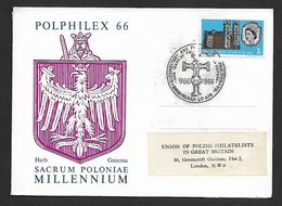 "POLPHILEX  66. DOCUMENTARY & PHILATELIC  EXHIBITION  "" THOUSAND  YEARS OF CHRISTIANITY "" - 1952-.... (Elizabeth II)"