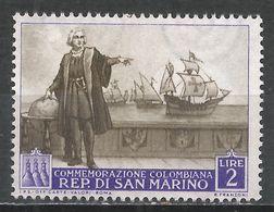 San Marino 1952. Scott #309 (M) Columbus On His Ship * - Saint-Marin