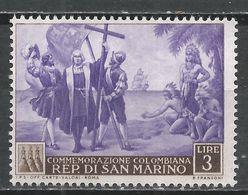 San Marino 1952. Scott #310 (M) Landing Of Columbus * - Saint-Marin