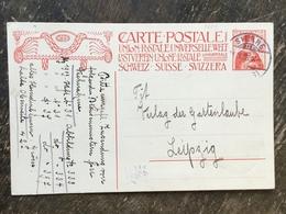 K5 Schweiz Suisse Helvetia Ganzsache Stationery Entier Postal P 68a Von Sierre Nach Leipzig - Postwaardestukken