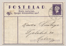 Nederlands Indië - 1948 - 30c Wilhelmina Postblad G6, Lokaal Zakelijk Gebruikt LB MALANG/3 - Indes Néerlandaises
