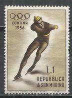 San Marino 1955. Scott #364 (M) Winter Olympic Games, Cortina D'Ampezzo, Speed Skating * - Saint-Marin