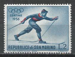 San Marino 1955. Scott #365 (MNH) Winter Olympic Games, Cortina D'Ampezzo, Cross-country Skiing * - Saint-Marin