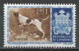 San Marino 1956. Scott #375 (M) Dog, Pointer, Arms * - Saint-Marin
