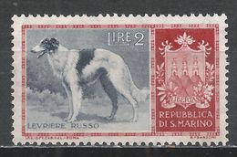 San Marino 1956. Scott #376 (M) Dog, Russian Greyhound, Arms * - Saint-Marin