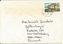 Iceland Cover Sent To Denmark 3-11-1992 Single Franked With A Stamp From Minisheet SHIP - 1944-... Republique