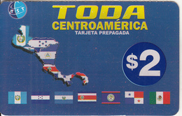 USA - Map, Toda Centroamerica Prepaid Card $2, Used - Unclassified