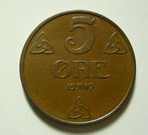 Norway 5 Ore 1940 - Norvège
