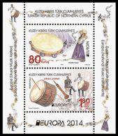 "CHIPRE TURCO/ TURKISH CYPRUS  -EUROPA 2014-TEMA ANUAL ""INSTRUMENTOS MUSICALES NACIONALES""- HOJITA BLOQUE - Europa-CEPT"