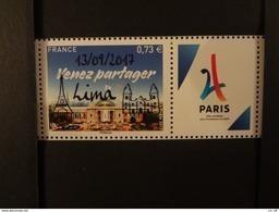 """FRANCE 2017 0,73 """"VENEZ PARTAGER"""" PARIS VILLE HOTE JEUX OLYMPIQUES DE 2024, SURCHARGE """" 13 01 2017  LIMA """" Avec Vignette - Ungebraucht"""