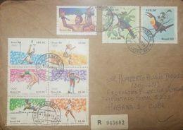 L) 1984 BRAZIL, SPORT, JUMP IN HEIGHT, RELEASE RUN, JUMP IN DISTANCE, OLYMPICS, BIRDS, PEOPLE, INDIGENOUS, TOUCAN, MULTI - Brazil