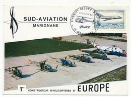 FRANCE - Carte Postale SUD AVIATION - Xeme Record D'Altitude Alouette II - 13 MARIGNANE - Poste Aérienne