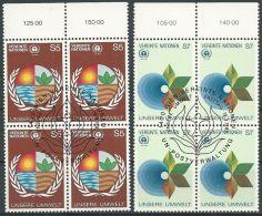 UNO WIEN 1982 Mi-Nr. 24/25 Viererblocks O Used - Aus Abo - Centre International De Vienne