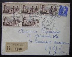 1957 Saint Gaudens Lettre Recommandée Pour Paris - 1921-1960: Moderne