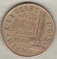 Jeton A La Gerbe D'Or 86 Rue De Rivoli Paris. Orfèvrerie Bijouterie - Professionals / Firms