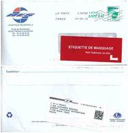 Pap Lettre Verte à Fenêtre - étiquette De Masquage De L'adresse Pour Réexpédition Du Courrier - Lot 14U120 - Entiers Postaux