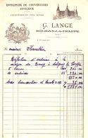 LANGE  Couverture Zinguerie  SOLIGNY La Trappe  (Orne)   Illustration Compagnonage Maçonnique - 1900 – 1949