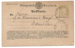 Bavaria Bayern (Germany) - Michel #1 Ganzsachen Yellow-green -- 1874 -- Wurtzburg - Mannheim - Bavaria