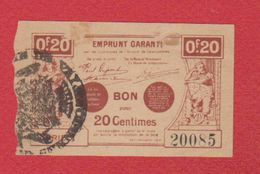 Bon Régional / Emprunt Garanti  / 20 Centimes / TTB - Bons & Nécessité